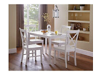 HOME Jessie Dining Table and 4 Cross Back Chairs - White