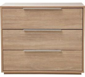 Ex display Bergen 3 Drawer Chest - Oak Effect