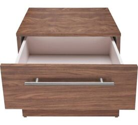 Hygena Atlas 2 Drawer Bedside Chest - Walnut Effect