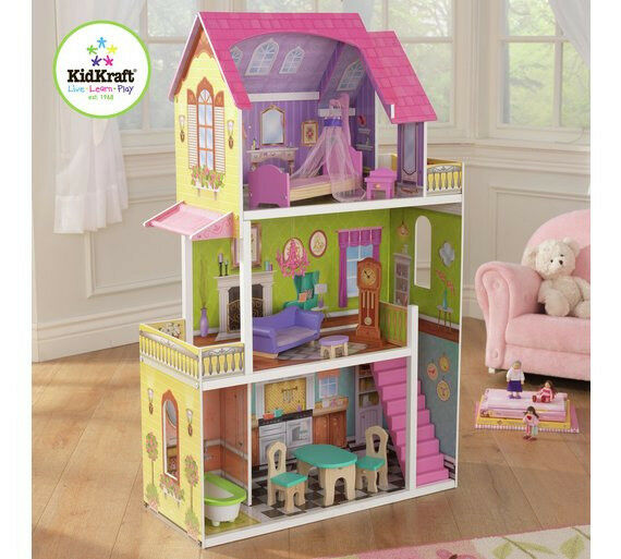 LARGE WOODEN KidKraft Florence Dollhouse (FITS BARBIE SIZE DOLLS) SEALED BRAND NEW IN BOX £60