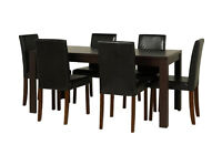 HOME Penley Extendable Dining Table & 6 Chairs - Black