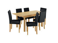 HOME Addingham Extendable Table and 6 Midback Chairs- Black