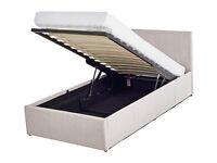 Hygena Lavendon Single Fabric Ottoman Bed Frame - Natural