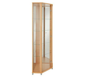 1 Glass Door Corner Display Cabinet - Beech Effect