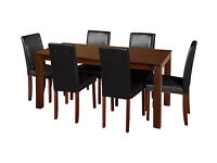 HOME Hampton Dining Table & 6 Chairs Chocolate