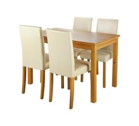 Ashdon Solid Wood Table & 4 Mid Back Chairs - Cream