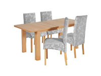 Stonebury Extendable Table & 4 Chairs - Grey Damask