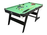 HYPRO 6FT FOLDING POOL / SNOOKER TABLE WITH CUES AND BALLS ETC 1 MONTH OLD