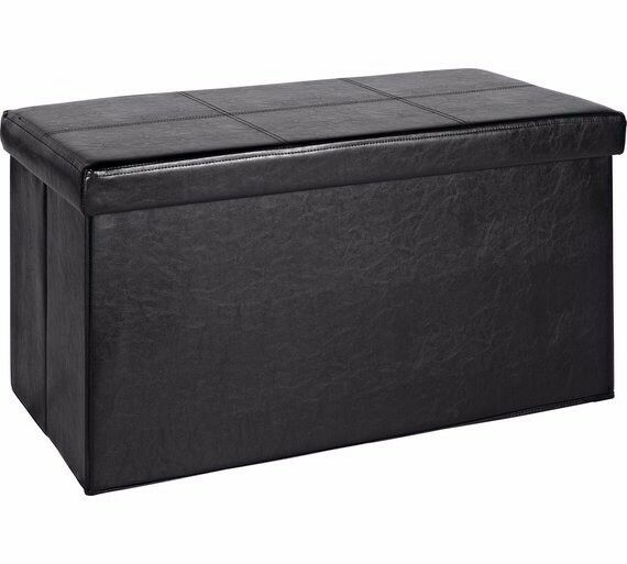 HOME Large Leather Effect Ottoman - Stitching Detail - Black