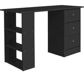 HOME New Malibu 3 Drawer Desk - Black