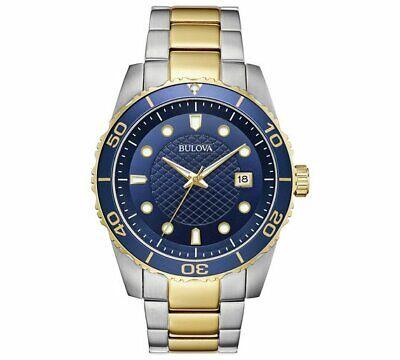 Bulova Men's Quartz Calendar Date Two-Tone Bracelet Blue Dial 43mm Watch 98A200