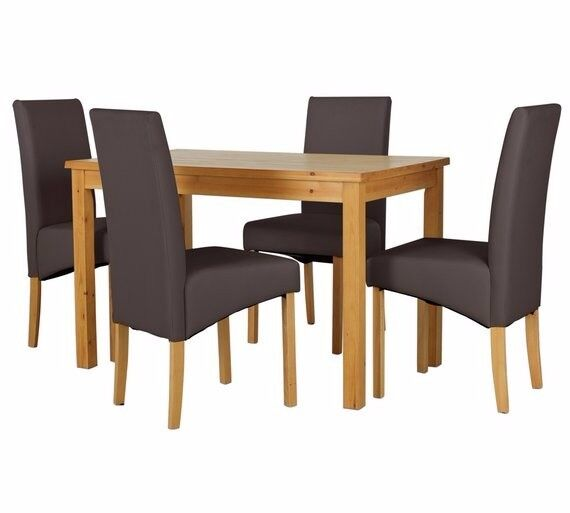 Ex display Lincoln Solid Wood Table & 4 Skirted Chairs - Chocolate