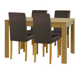 HOME Penley Extending Oak Veneer Table & 4 Chairs - Choc