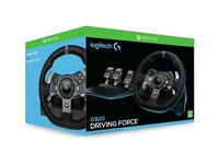 Logitech G920 Driving Force Racing Wheel for XBOX ONE and PC. Black with silver