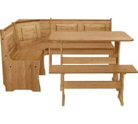 Ex display Puerto Rico Solid Wood Nook Table & 3 Corner Bench Set
