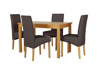 Fully assembled Lincoln Solid Wood Table & 4 Skirted Chairs - Chocolate
