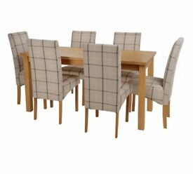 Ex Display Lincoln Solid Wood Table & 6 Skirted Chairs - Checked