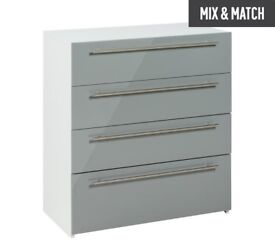 Ex-display Atlas 4 Drawer Chest - Grey Gloss
