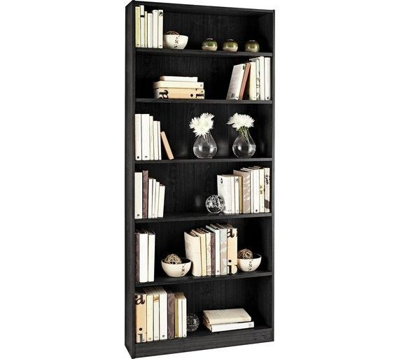HOME Maine 5 Shelf Tall Wide Bookcase - Black