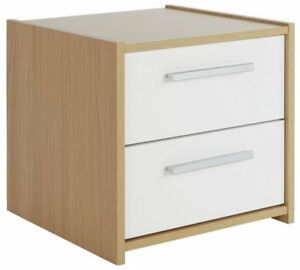 Oak White High Gloss 2 Drawer Bedside Cabinet Bedside Table Night Stand Sywell