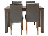 HOME Pemberton Oak Veneer Dining Table & 4 Chairs - Choc