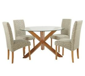 Oakington Round Glass Table & 4 Chairs - Floral