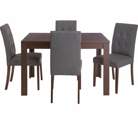 Collection Adaline Ext Oak Vnr Table & 4 Chairs - Charcoal