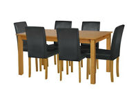 already built up Ashdon Solid Wood Table & 6 Mid Back Chairs - Black