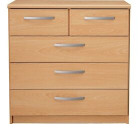 Ex display Hallingford 3+2 Drawer Chest - Beech Effect