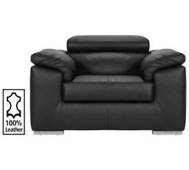 Hygena Valencia Leather Chair - Black