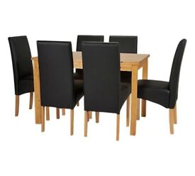 Ex display Ashdon Solid Wood Table & 6 Skirted Chairs - Black