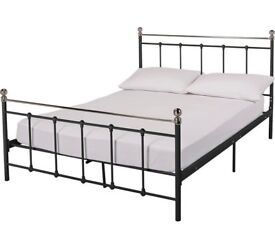 Lovely Ikea King Size Iron Bed Frame with Mattress