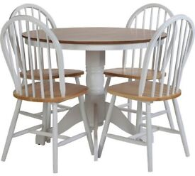 Ex Display Kentucky Solid Wood Table & 4 Chairs - Two Tone