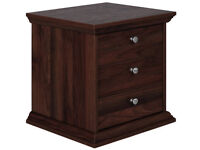 Canterbury 3 Drawer Bedside Chest - Walnut Effect