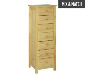 Ex display Scandinavia 7 Drawer Narrow Chest - Pine