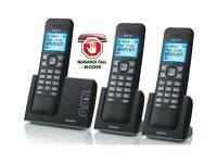Binatone Defence 6025 Triple Cordless Phones with Answering machine.Nuisance call blocker.Boxed
