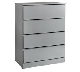 Ex display Larvik 4 Drawer Chest - Grey Gloss