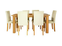 Heyford Ext Wood Effect Dining Table & 6 Chairs - Choc/Cream