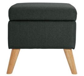 Hygena Lexie Fabric Storage Footstool - Charcoal