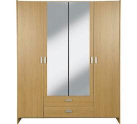 HOME Capella 4 Dr 2 Drw Mirrored Wardrobe - Oak Effect