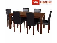 Ex-display Ashdon Solid Wood Table & 6 Mid Back Chairs - Black