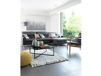 Black glass and chrome square low coffee table