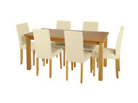 Ex display Ashdon Solid Wood Table & 6 Mid Back Chairs - Cream / Black