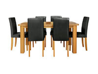HOME Heyford Extendable Dining Table & 6 Chairs - Black