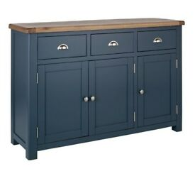 Heart of House Kent 3 Door Large Oak Veneer Sideboard - Blue