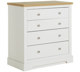 Fully assembled Heart of House Westbury 4 Drawer Chest - White And Oak