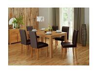 Pemberton Oak Veneer Dining Table & 4 Chairs - Choc