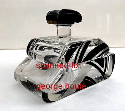 ART DECO - GLASS CONTAINER - BLACK ENAMEL -FROSTED- KNOB HANDLE