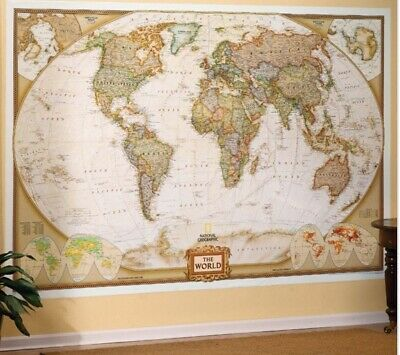 """World Wall Map by National Geographic Executive Style Brown Toned Mural 73x48"""" Executive World Wall Map"""