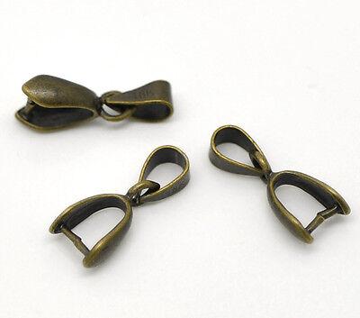 20 Pinch Clip Pendant Bails Antique Bronze Plate 17mm x 7mm  J16911